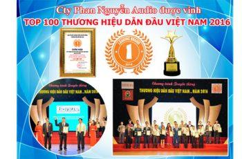 Cty Phan Nguyễn Audio được vinh danh Top 100 Thương Hiệu Dẫn Đầu Việt Nam 2016