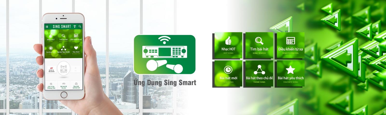 Ứng dụng Sing Smart trên đầu karaoke paramax ls-5000